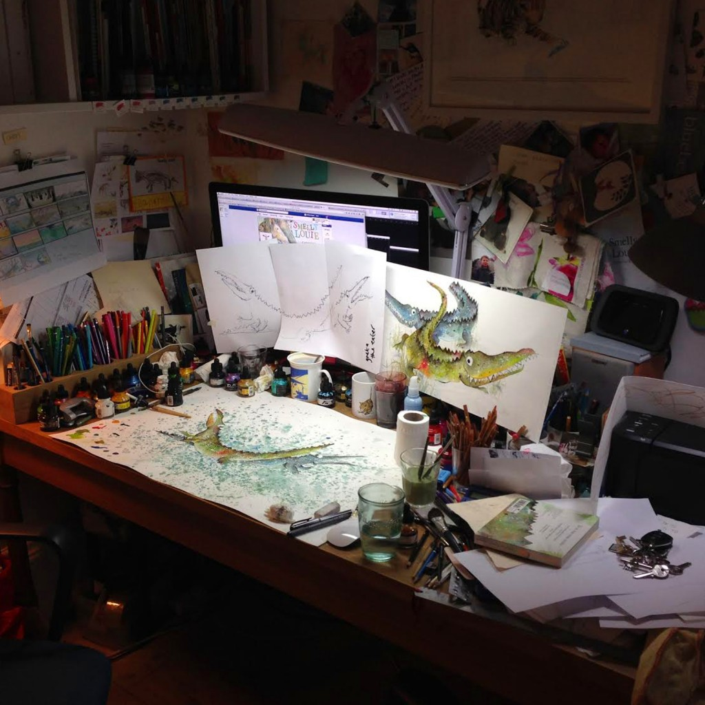 Catherine Rayner's working space
