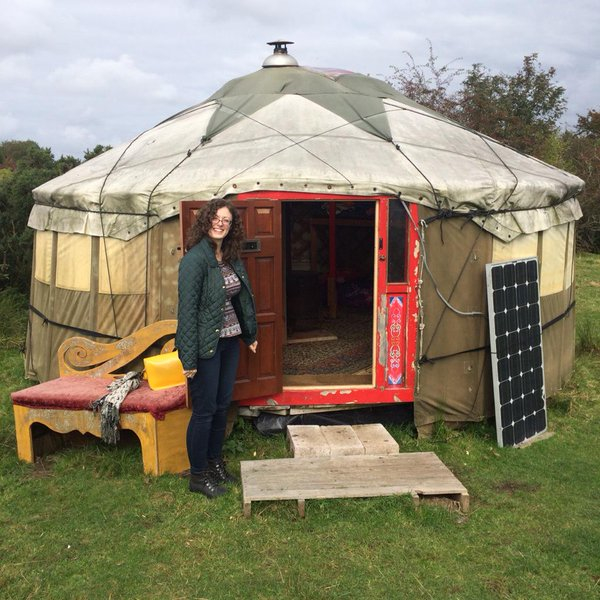 Kirstin in front of the yurt in Wigtown