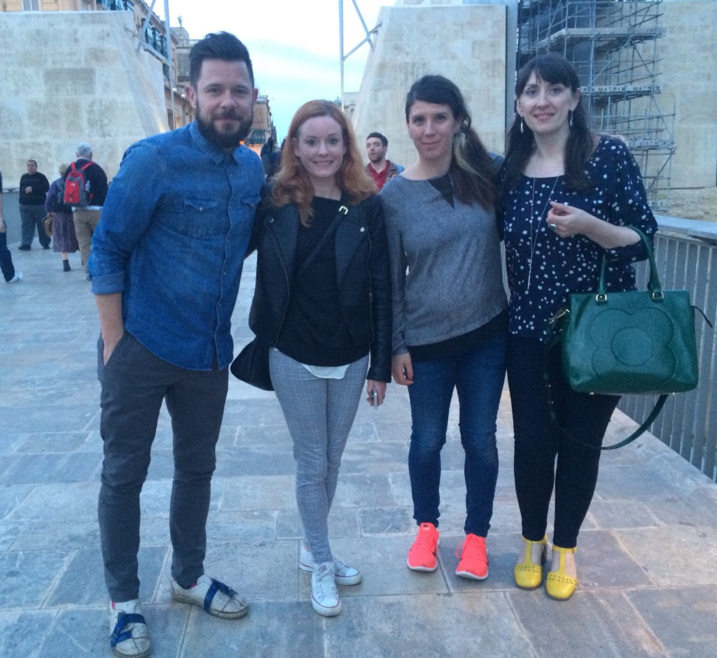 Mairi (R) with Anne Bowman, Guy Bass and Ruth Wilson in Malta