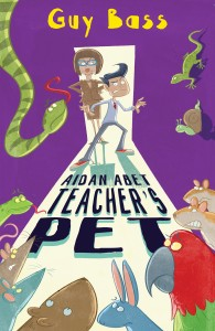 Cover image for Aidan Abet Teacher's Pet showing an illustration of Aidan surrounded by lots of worried looking animals and a stern teacher looking over his shoulder