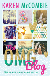 Cover image for The OMG Blog by Karen McCombie - features an instagram like grid of different pictures and the words OMG Blog written in glitter