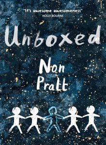 Cover image for Unboxed by Non Pratt - a dark blue mottled background with golden flecks like stars, with an illustration of five stick people holding hands, the centre stick person is not filled in like the others