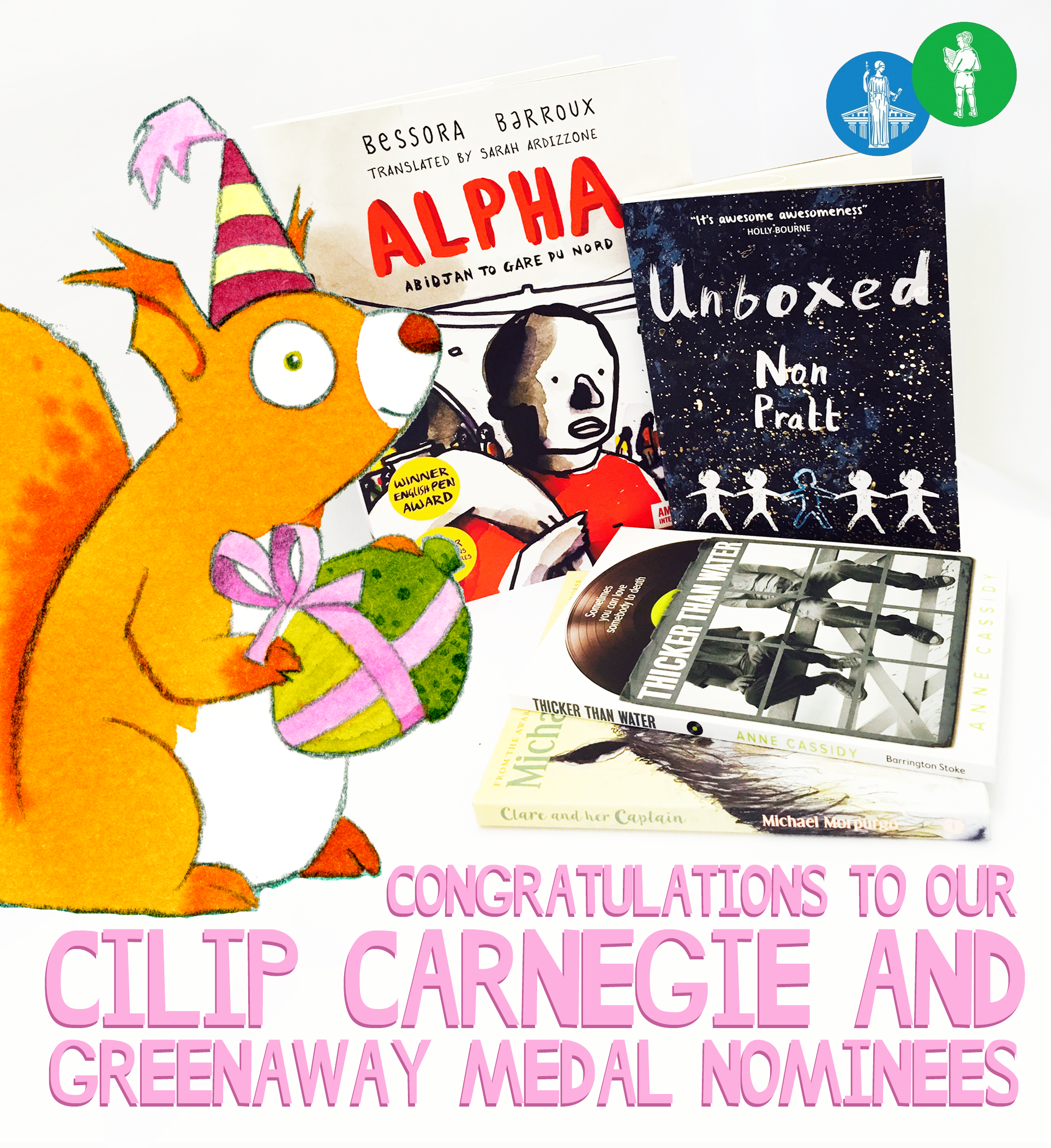 Barrington Stoke books nominated for the CILIP Carnegie and Kate Greenaway Medals