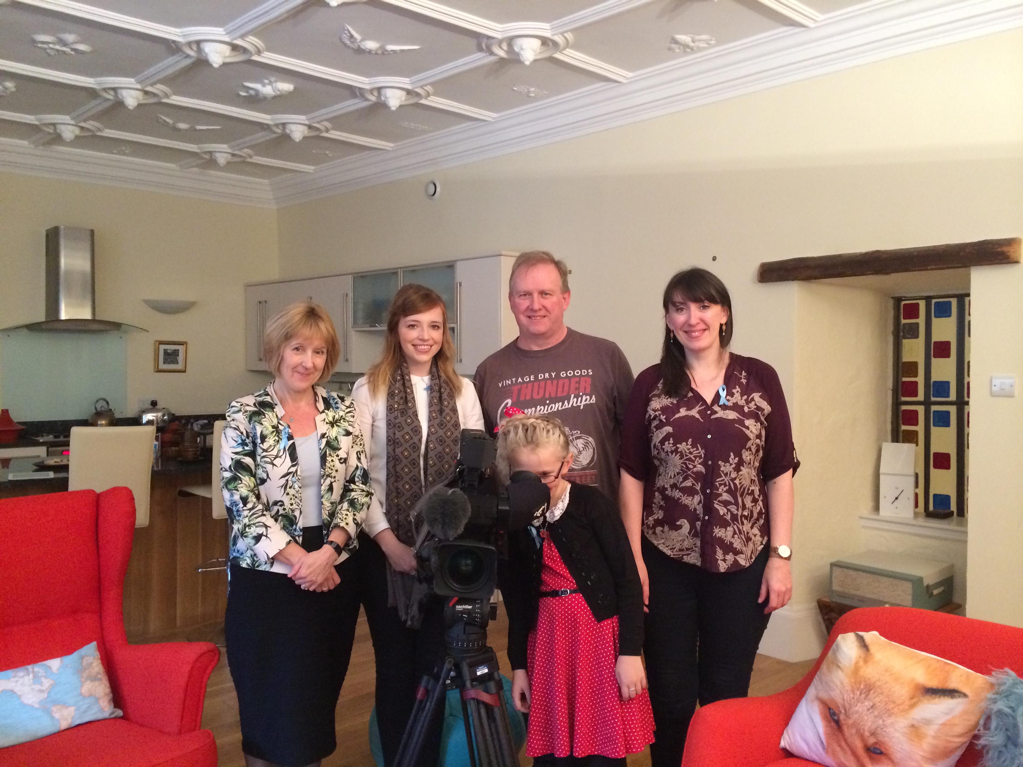 Cathy Magee, STV crew and Mairi Kidd