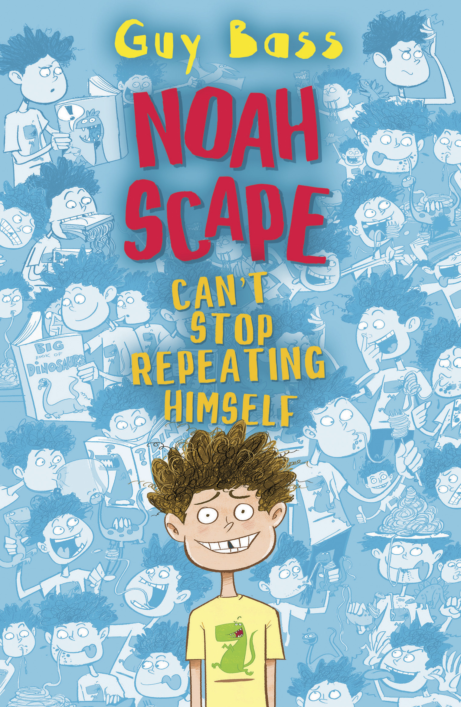 Cover image for Noah Scape featuring an illustration of Noah on a blue background of lots of different Noah's doing lots of different things,