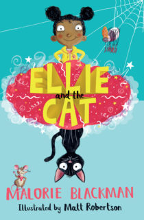 Cover image for Ellie and the Cat by Malorie Blackman. The image features illustrations of Ellie, a black cat, a mouse, a spider and the book title.