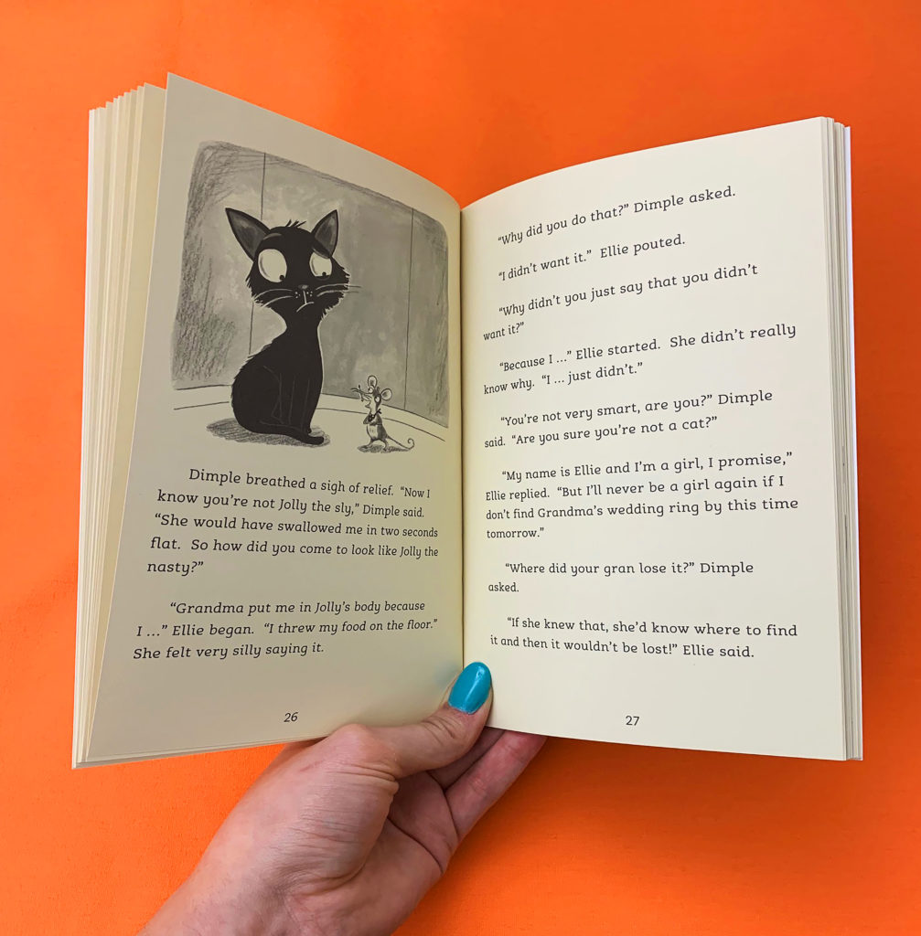 A photo of pages 26 and 27 from Ellie and the Cat by Malorie Blackman. It shows an illustration of a confused looking cat and a small mouse having a conversation. This sits above the text from these pages.
