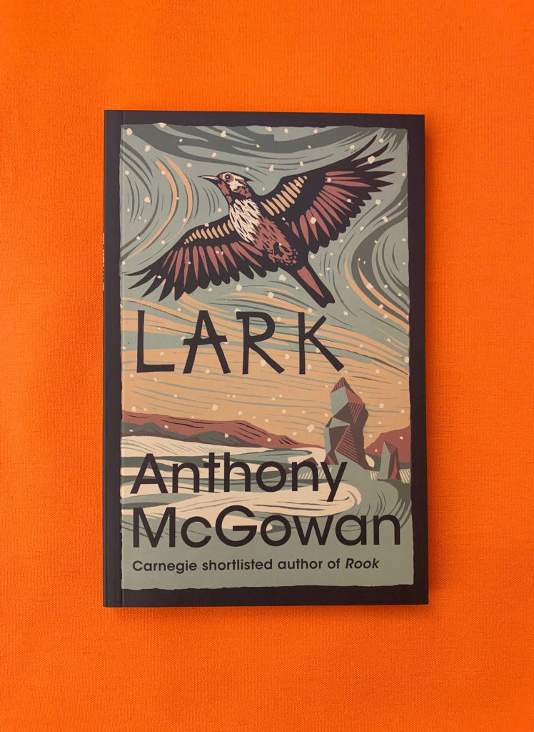 A picture of Lark by Anthony McGowan lying on an orange table. The cover image shows an illustration of a Lark flying over a snowy scene with the words Lark, Anthony McGowan, Carnegie Shortlisted Author of Rook