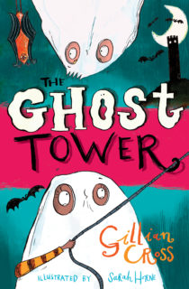 Cover image for The Ghost Tower - A pink and green striped background with the words THE GHOST TOWER in the middle, illustrations of two children dressed as ghosts are prominently places, they are surrounded by illustrations of bats and a spooky looking tower