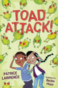 Cover image for Toad Attack by Patrice Lawrence - illustration featuring a young boy and girl running away from lots of jumping toads