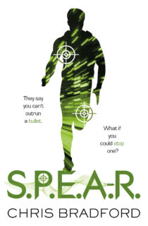 Cover Image for S.P.E.A.R. by Chris Bradford - A silhouette of a teenage boy running over the book title, he is coloured by bright green lights and target marks on him. The text around him reads: They say you can't outrun a bullet. What if you could stop one?