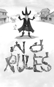 An illustration from Laura Norder showing Duncan Disorderly standing menacingly over the words NO RULES
