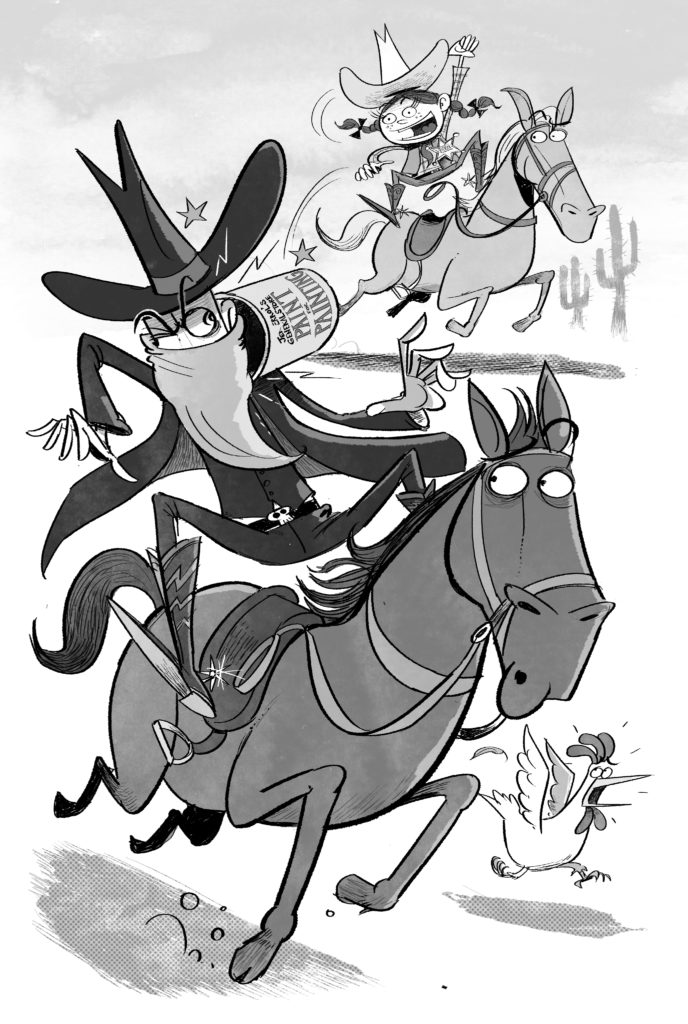 An illustration from Laura Norder showing Laura chasing down Duncan Disorderly in high-speed horse chase