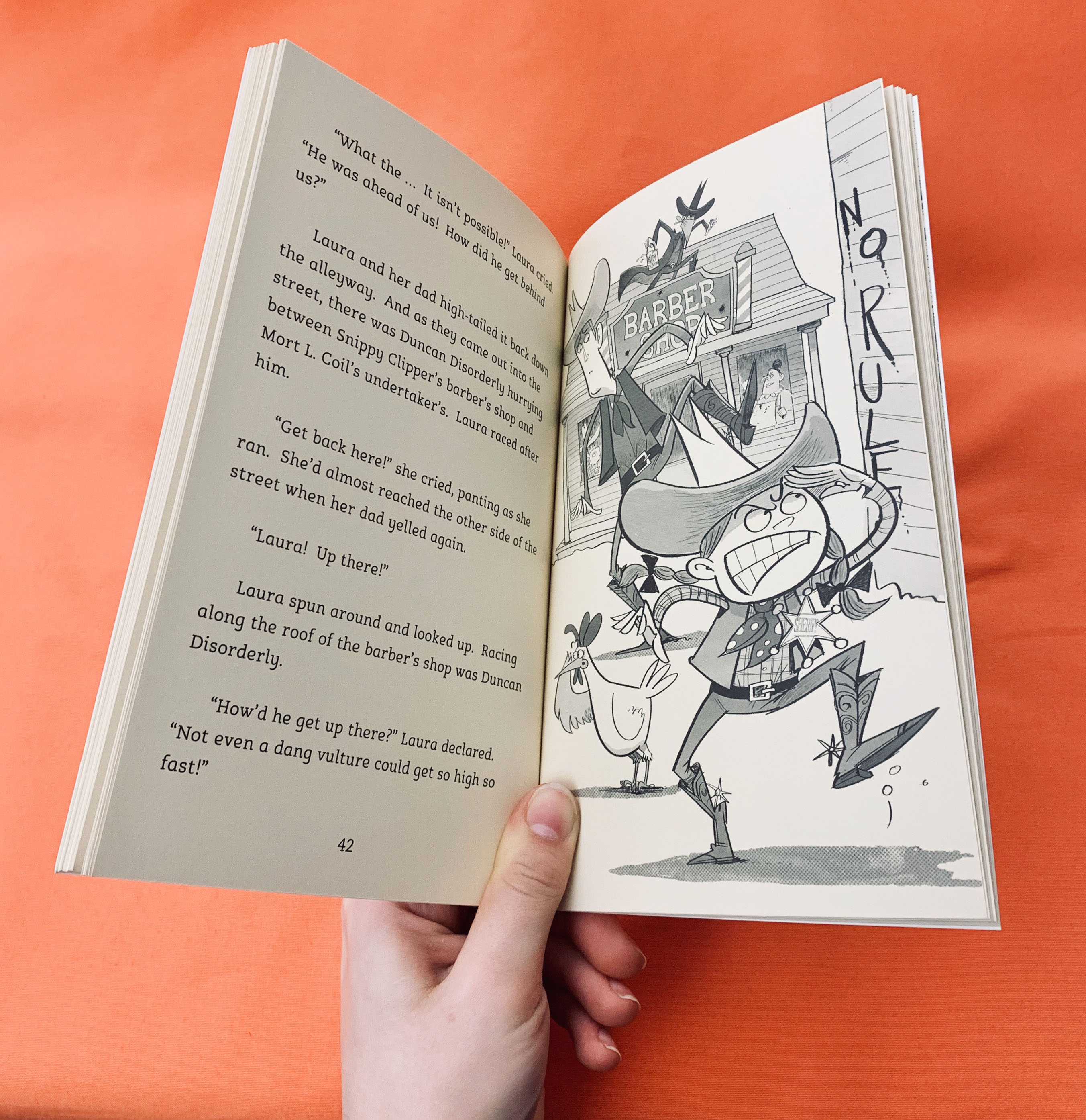 Image of the book Laura Norder open at a page with illustration of Laura