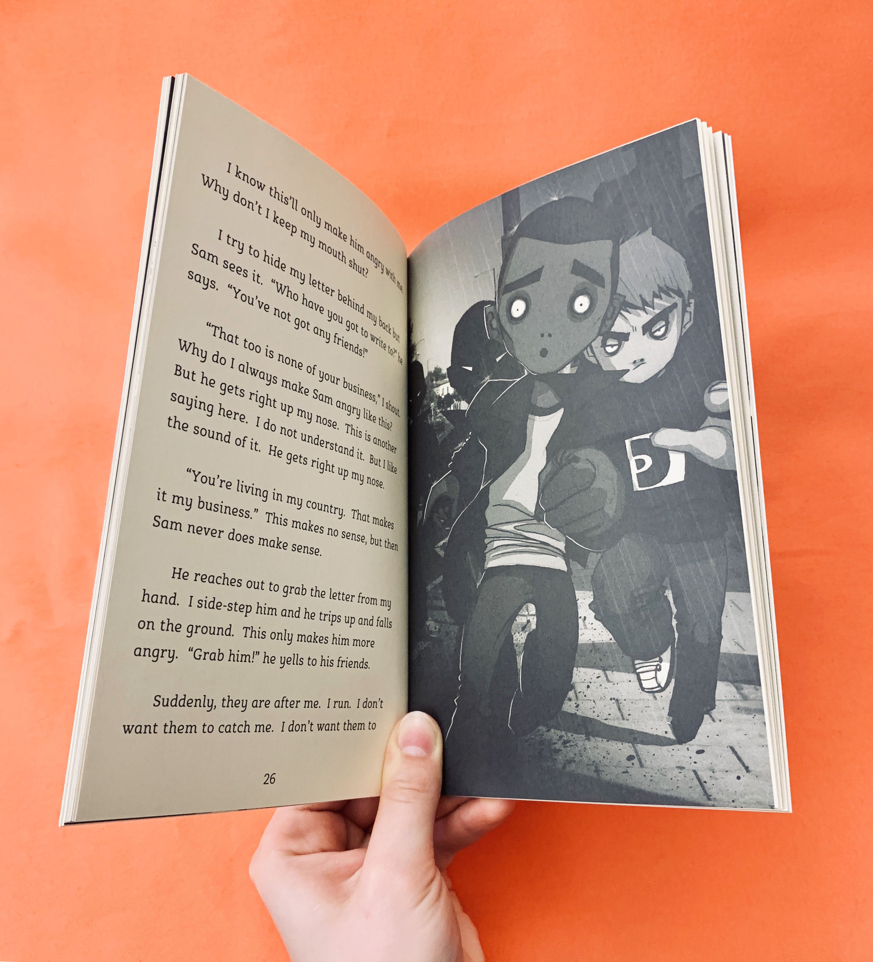 An image of the book Under the Skin opened at a page with an illustration of Omar running away from bullies