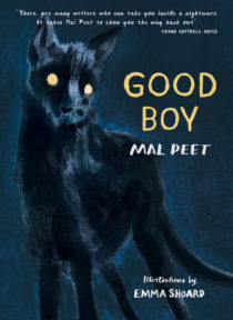 Cover image for Good Boy by Mal Peet and Emma Shoard. The cover is dark black and blue with the words Good Boy written in gold over a haunting illustration of a large black dog with golden eyes