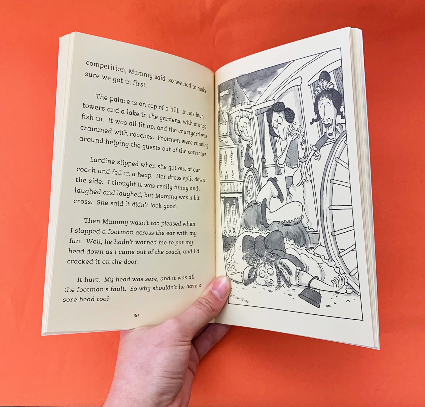 A photograph of a spread from The Stepsisters' Story by Kaye Umansky
