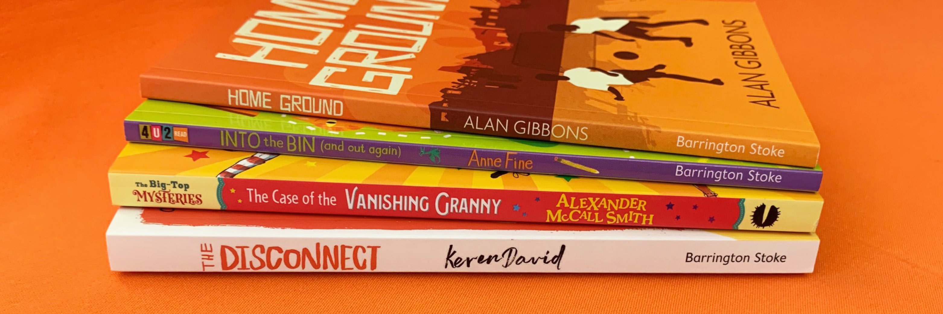 A close up of a stack of the new april titles!