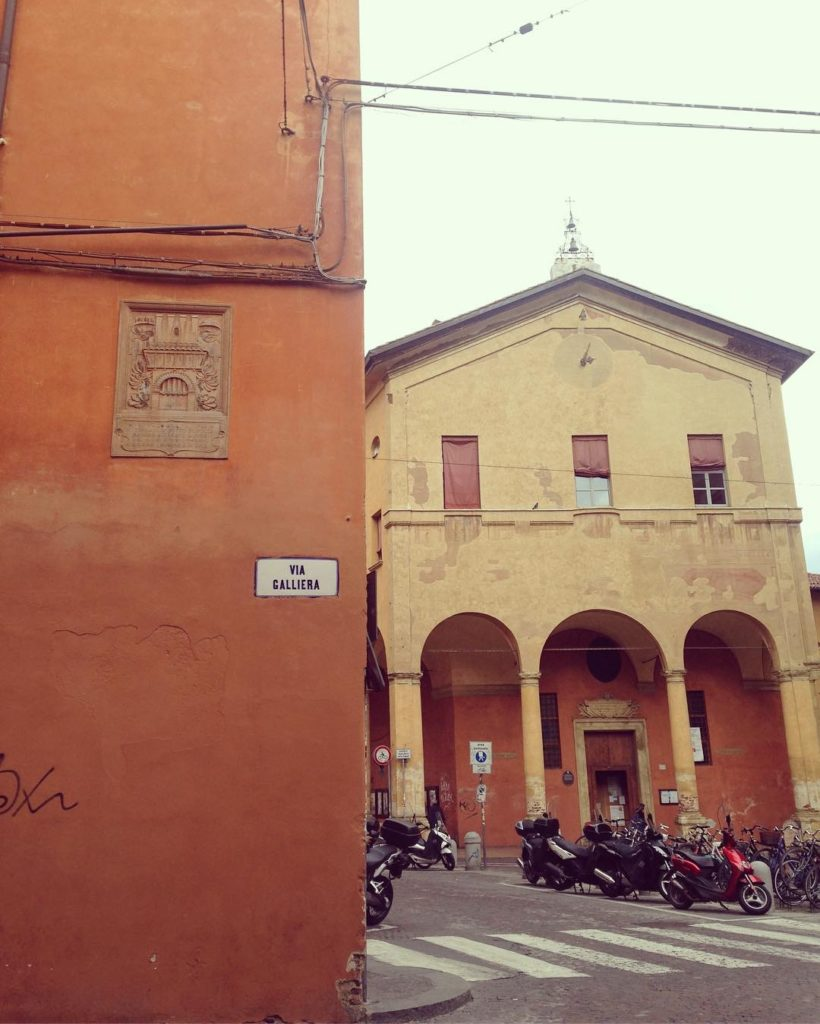 A photograph of a view of a bologna street