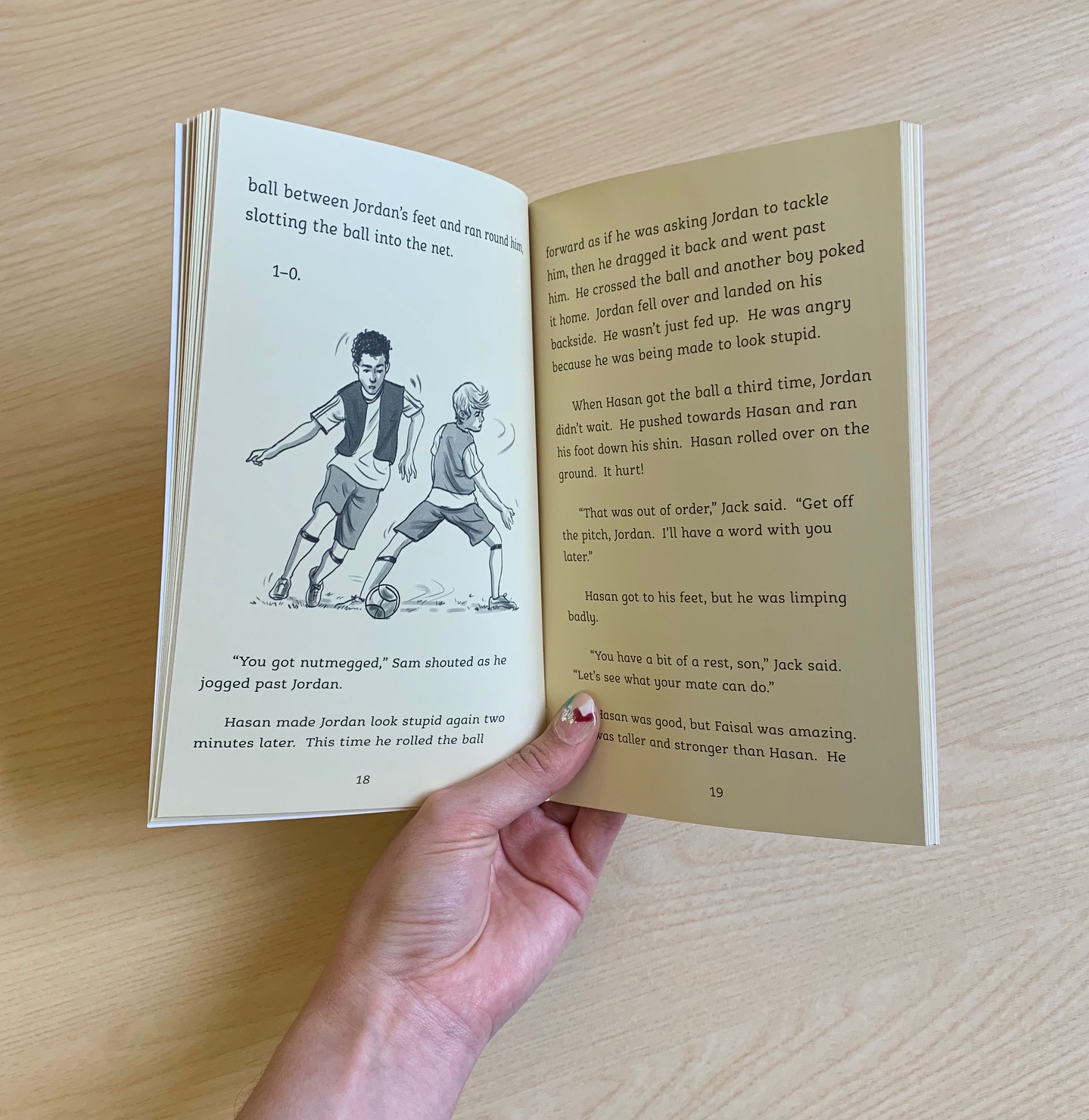 A photograph of an inside spread of Home Ground by Alan Gibbons, featuring an illustration of by Chris Chalik