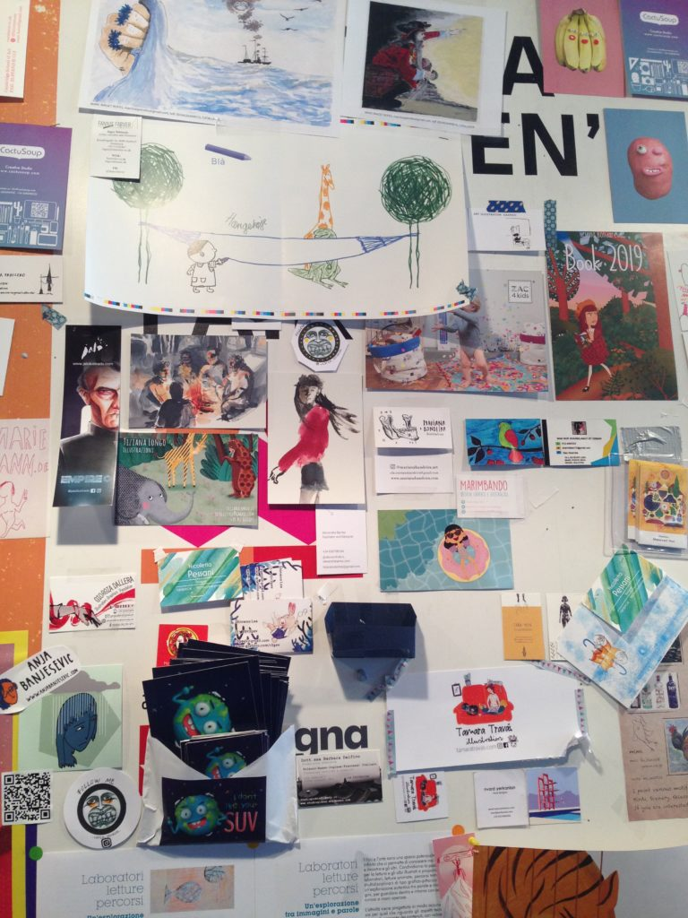 An image of the 'walls of illustration' at Bologna