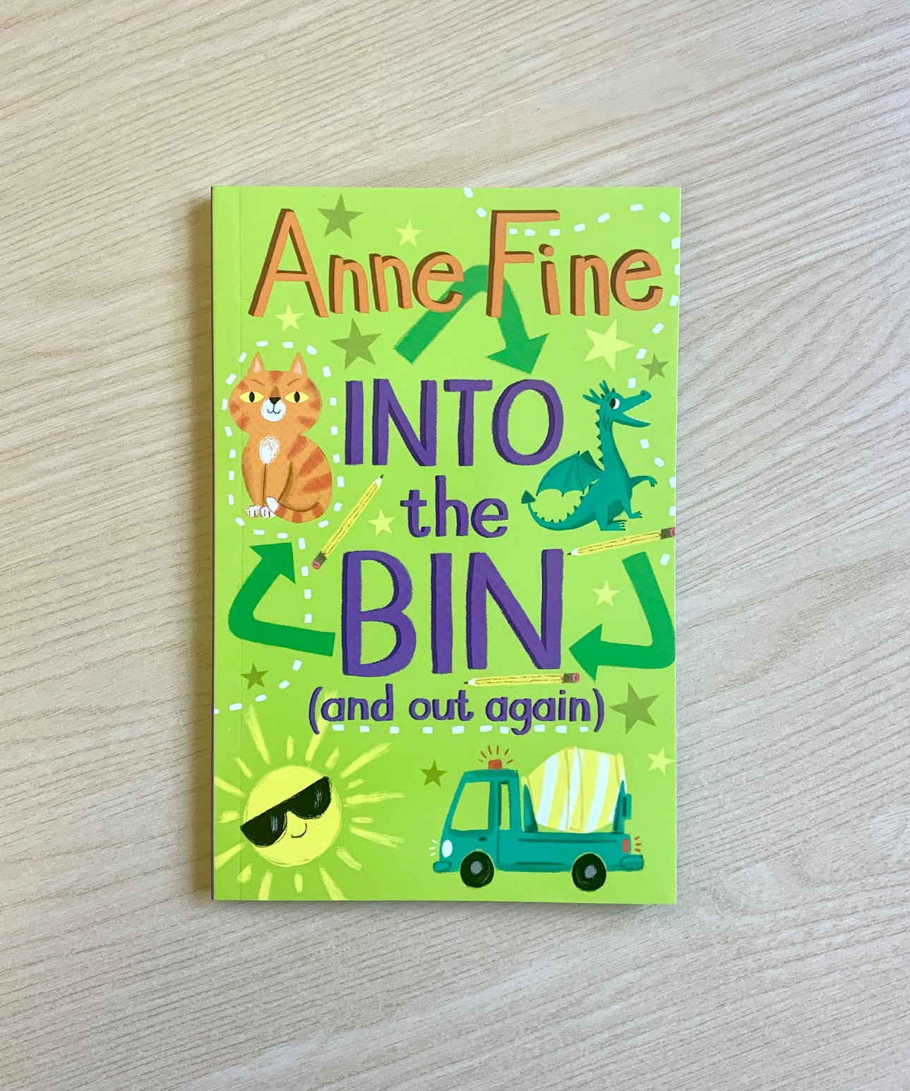 Photograph of the book INTO THE BIN by Anne Fine, and Vicki Gausden